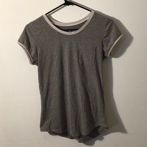 Gray shirt with white collar and sleeve ends
